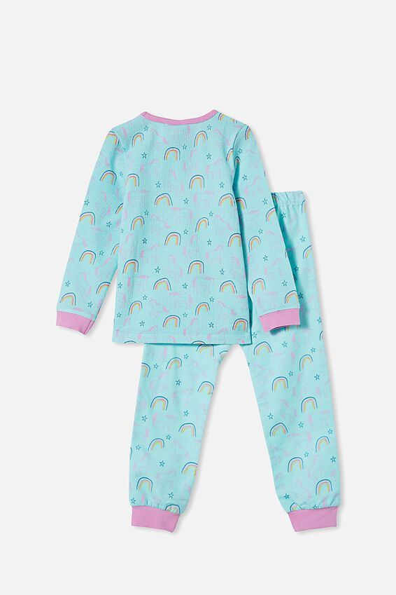 Edith Long Sleeve Pyjama Set, UNICORNS AND RAINBOWS/DREAM BLUE