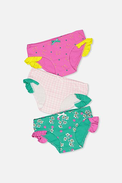 Girls Ruffle Undie Pack, FLORAL CAT MIX