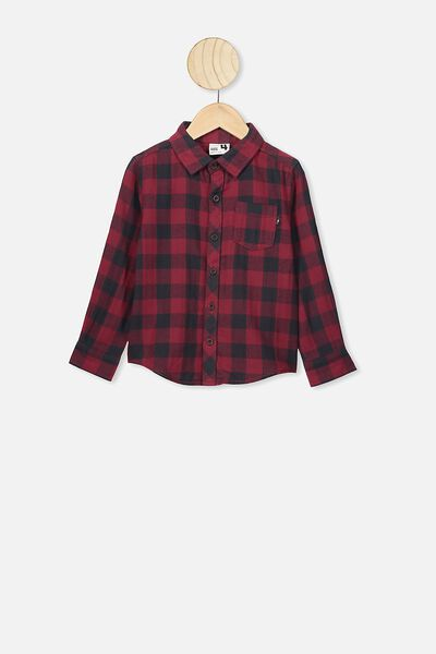 Rugged Long Sleeve Shirt, BURGUNDY/PHANTOM