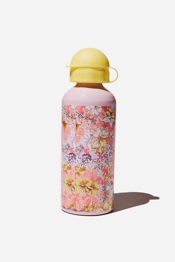 Aluminium Drink Bottle, LEMON DROP COASTAL FLORAL