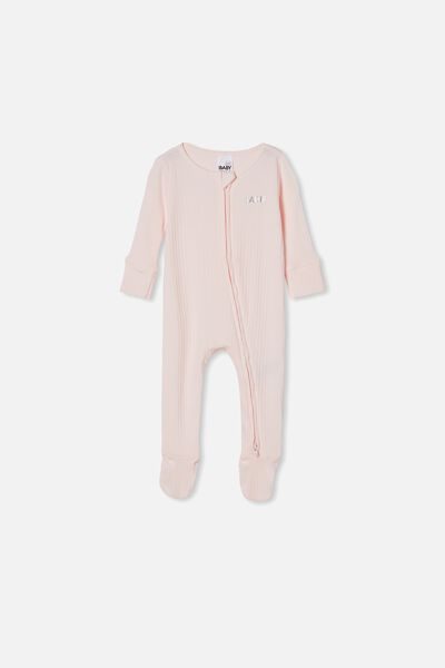 Organic Newborn Zip Through Romper Personalised, CRYSTAL PINK