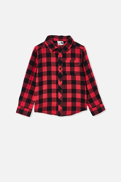 Rugged Long Sleeve Shirt, RED/BLACK BUFFALO CHECK