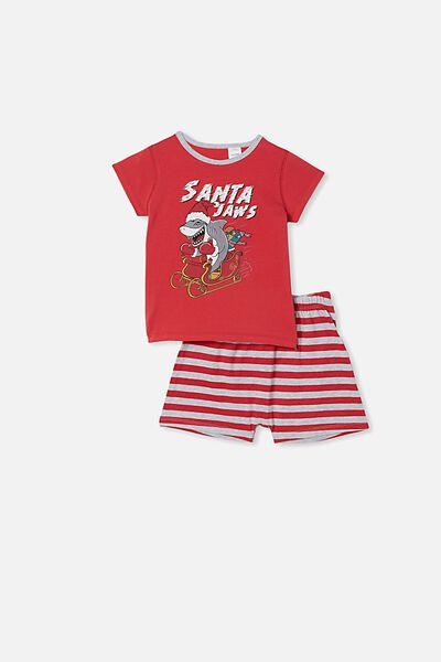 Hudson Short Sleeve Pyjama Set, SANTA JAWS LUCKY RED