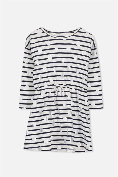 Pearl Long Sleeve Dress, PEACOAT STRIPE/SILVER DOT
