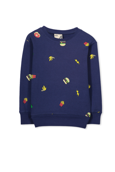 Lachy Crew Sweater, BRENDON BLUE/JUNK FOOD