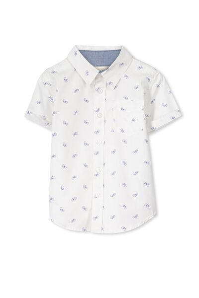 Jackson S/Slv Shirt, VANILLA/BIKES