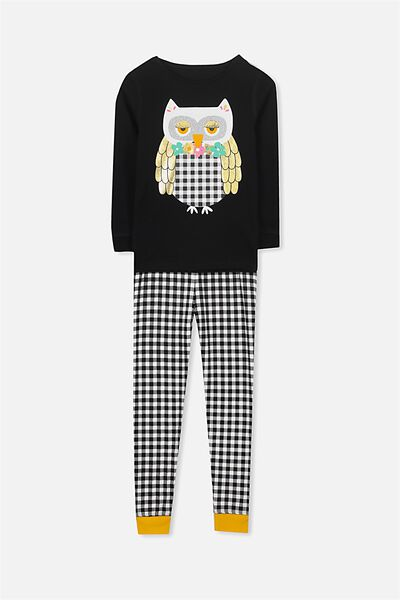 Kristen Girls Long Sleeve PJ Set, PRISCILLA THE OWL