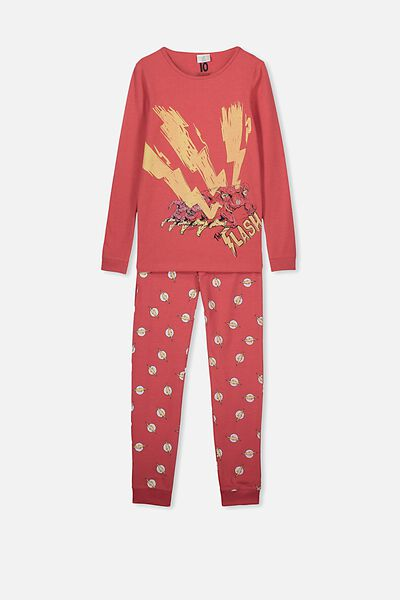 Ethan Long Sleeve Boys Pyjama Set, LCN MAR FLASH RED