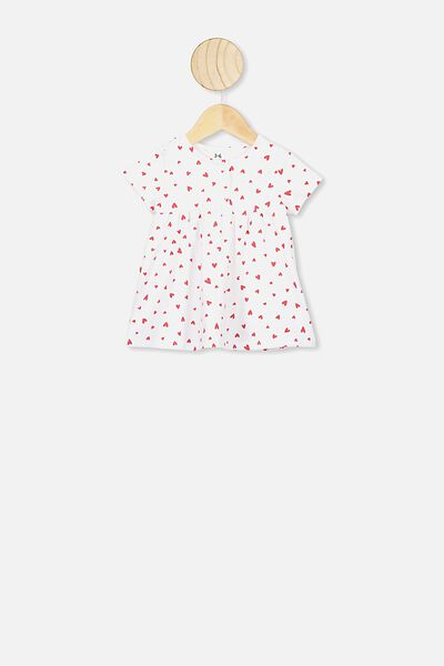 Milly Short Sleeve Dress, WHITE/RED HEARTS