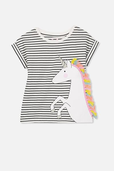 Anna Short Sleeve Stepped Hem Tee, VANILLA/PHANTOM STRIPE/FRINGE UNICORN