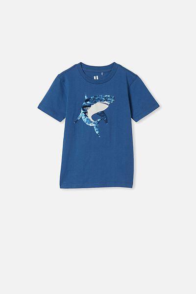 Downtown Short Sleeve Tee, PETTY BLUE/SEQUIN SHARK