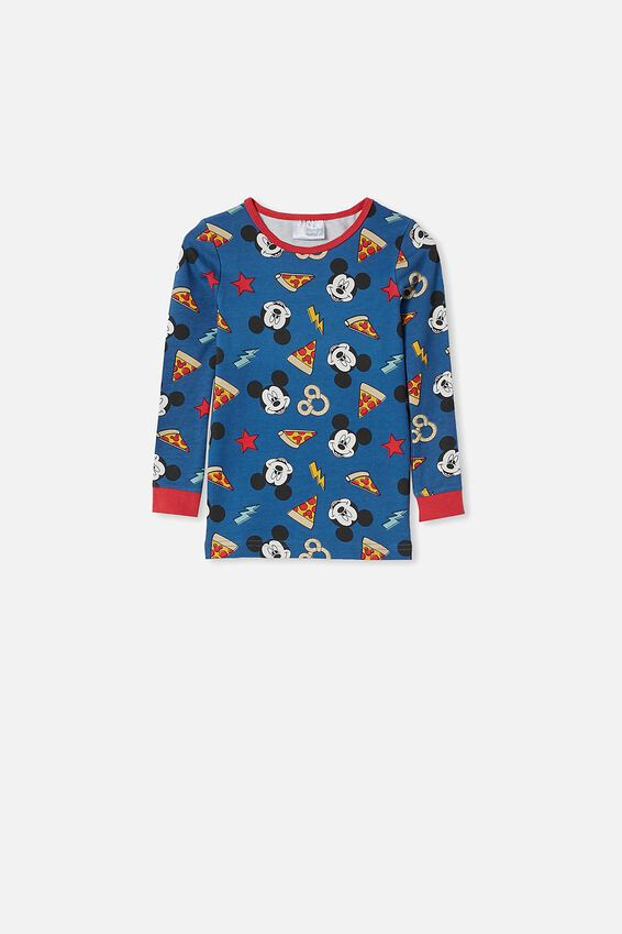 Ethan Long Sleeve Pyjama Set Licensed, LCN DIS MICKEY PIZZA PRETZELS / NAVY BLAZER