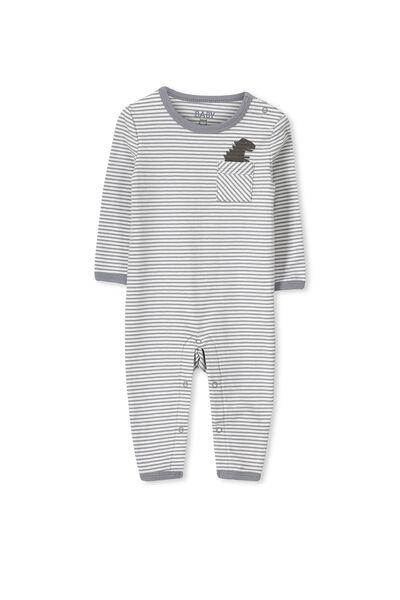 Mini Long Sleeve Snap Bodysuit, VANILLA STRIPE/DINO