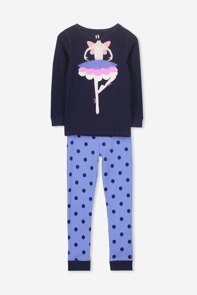 Shae Girls Long Sleeve Waffle Pyjama Set, BALLERINA