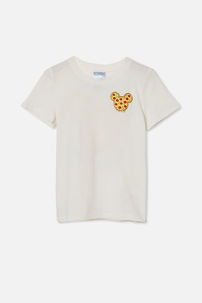 Short Sleeve License Embellished  Tee, LCN DIS RETRO WHITE / MICKEY PIZZA