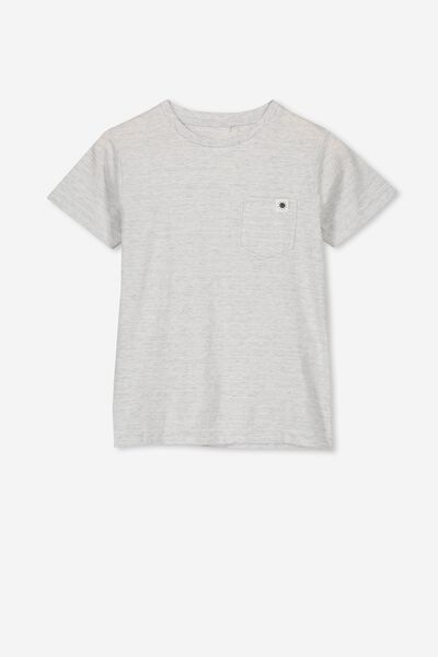 Core Ss Tee, SUMMER GREY MARLE/DARK VANILLA STRIPE