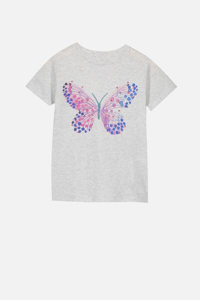 Stevie Ss Embellished Tee, SUMMER GREY MARLE/PAINTED BUTTERFLY/MAX