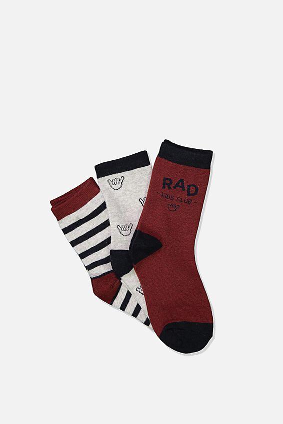 Kids 3Pk Crew Socks, RAD KIDS CLUB