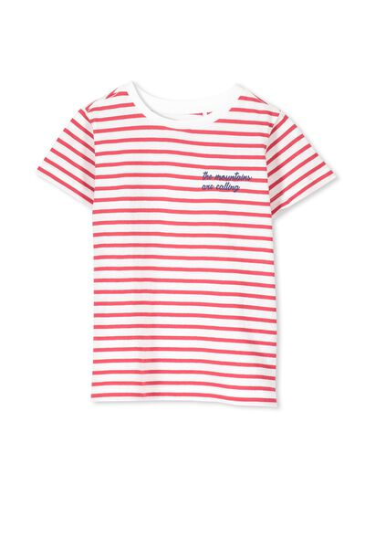 Max Short Sleeve Tee, KETCHUP STRIPE/MOUNTAINS EMB