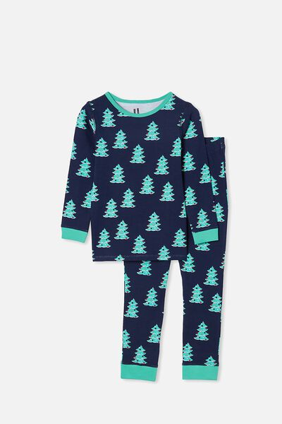 Billie Kids Unisex Long Sleeve Pyjama Set, CHRISTMAS TREE NAVY BLAZER