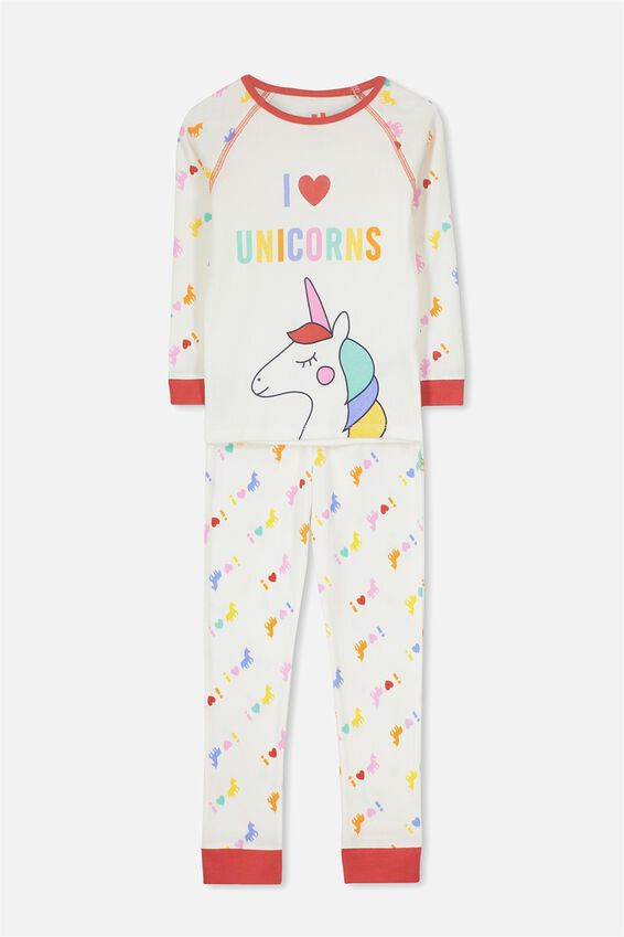 Poppy Ls Raglan Girls Pj, I LOVE UNICORNS