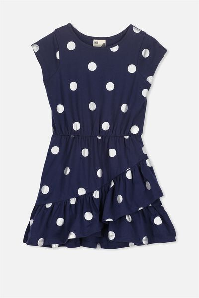 Joey Short Sleeve Dress, PEACOAT/SILVER SPOT