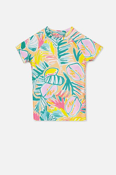 Hamilton Short Sleeve Rashie, PAINTERLY PALM/YARDAGE