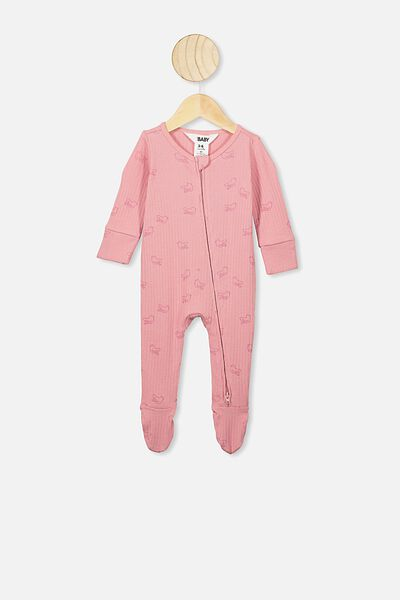 Newborn Zip Through Romper, MUSK ROSE/BIRD