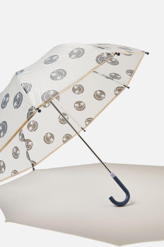 Kids Cloudburst Umbrella, STEEL SMILEY