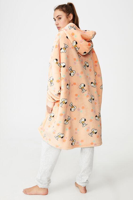Snoopy Snugget Adults Oversized Hoodie, LCN PEANUTS SNOOPY FLOWERS PEACH TANG