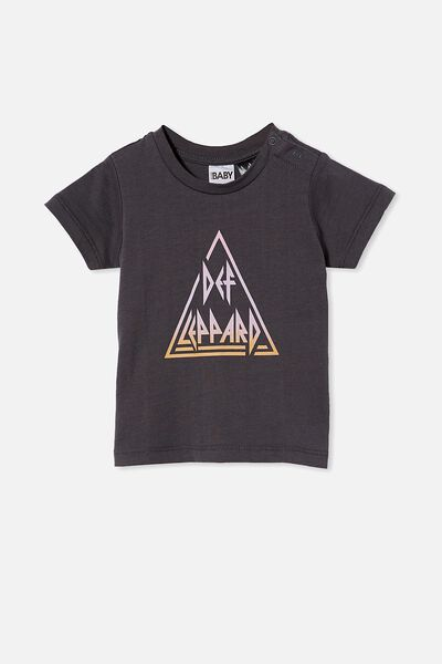 Jamie Short Sleeve Tee-License, LCN BR RABBIT GREY/DEF LEPPARD TRIANGLE