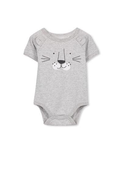 Mini Cub Ss Bubbysuit, LIGHT GREY MARLE/LEOPARD
