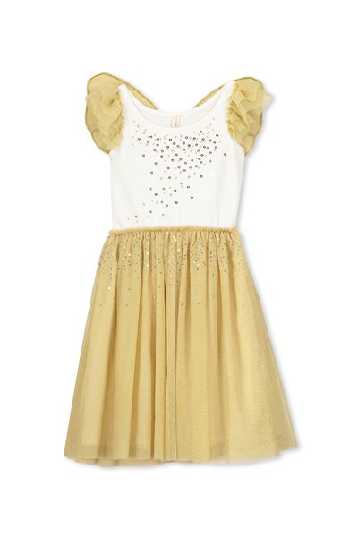 Iris Tulle Wing Dress, VANILLA/GOLDEN SPARKLE