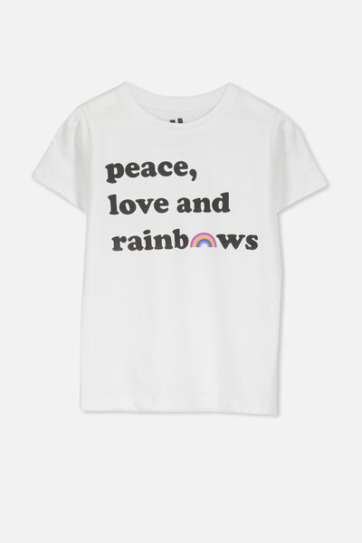 Penelope Short Sleeve Tee, WHITE/PEACE LOVE RAINBOW/SET IN