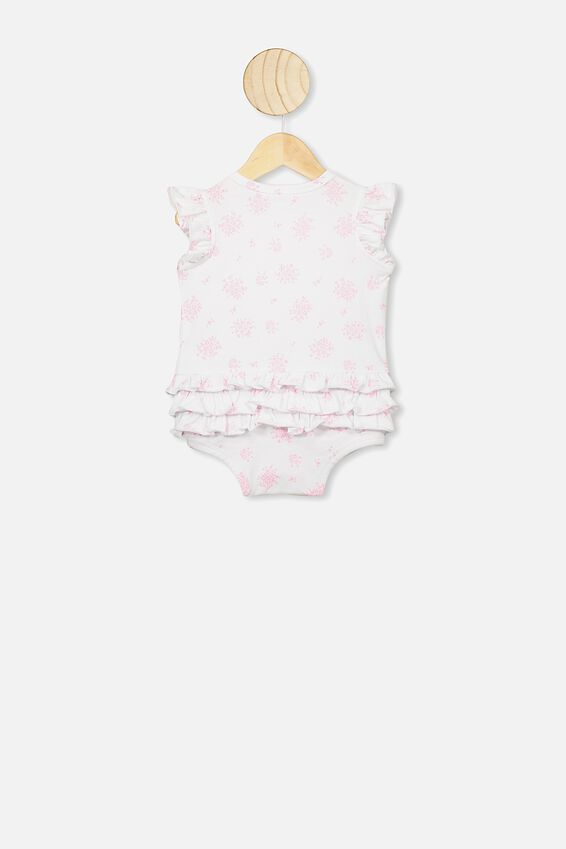 Alice Ruffle Bubbysuit, WHITE/OLIVIA CALI PINK FLORAL