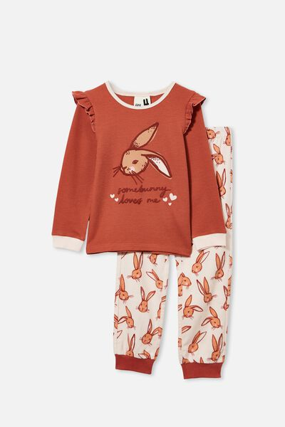 Edith Long Sleeve Pyjama Set, SOME BUNNY/CHUTNEY