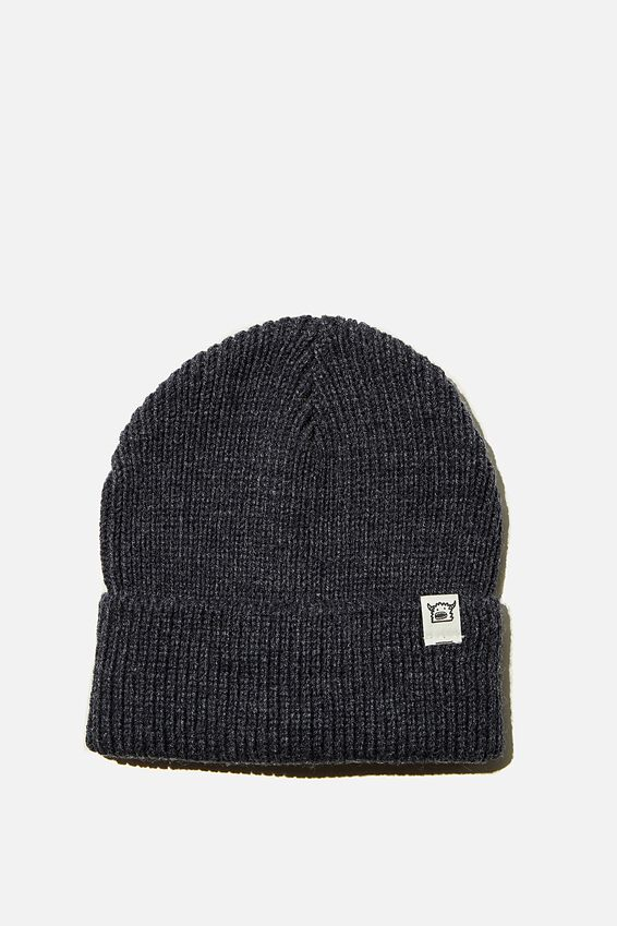 Winter Knit Beanie, NAVY MARLE FISHERMAN