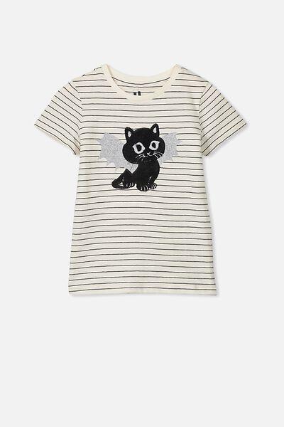 Stevie Ss Embellished Tee, DARK VANILLA STRIPE/BAT CAT/MAX