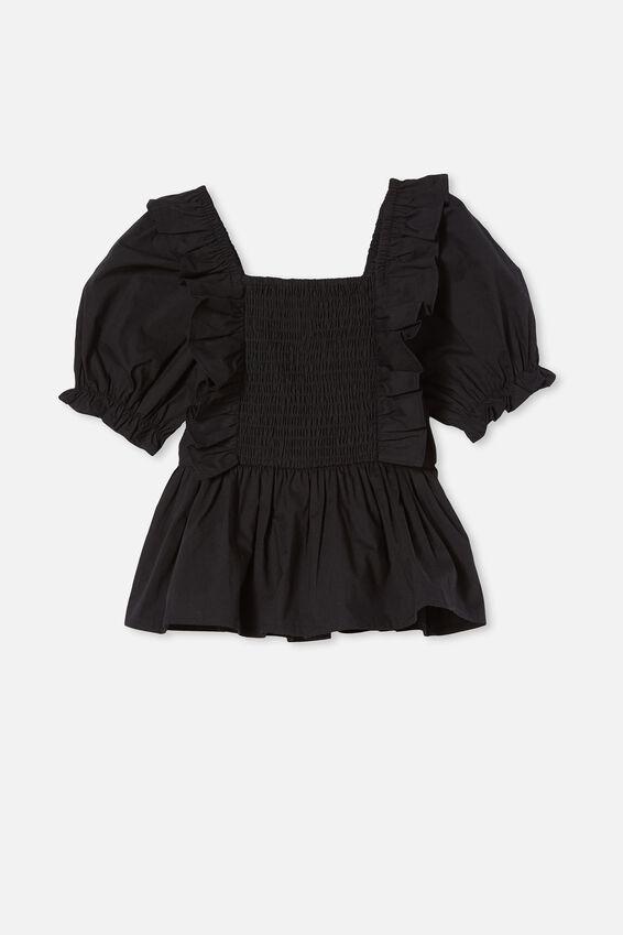 Tessa Shirred Short Sleeve Top, BLACK