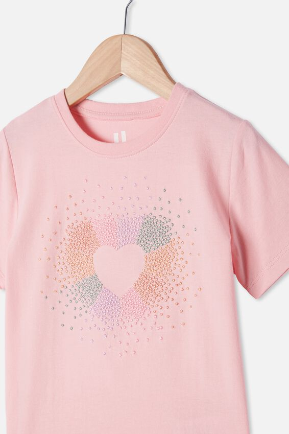 Stevie Short Sleeve Embellished Tee, MARSHMALLOW HEART BURST