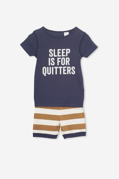 Joshua Short Sleeve Pyjama Set, SLEEP IS FOR QUITTERS