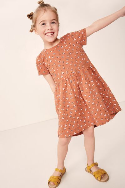 Freya Short Sleeve Dress, AMBER BROWN/DITSY FLORAL