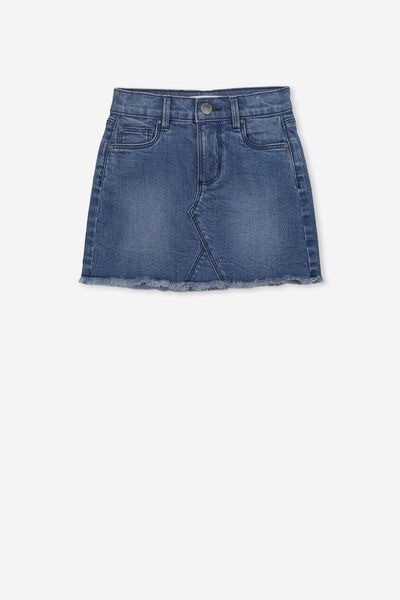 Finn Denim Skirt, MID WASH