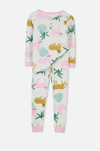 Kristen Girls Long Sleeve PJ Set, TROPICAL CAT PL