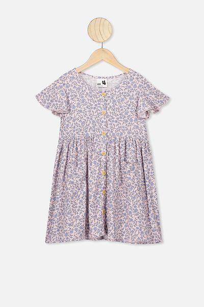 Vanessa Short Sleeve Dress, PEACH WHIP/SPRIGGY FLORAL