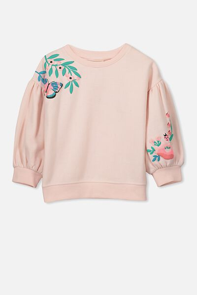 Sage Puff Sleeve Fleece, SHELL PEACH/PUFF FLORAL PLACEMENT