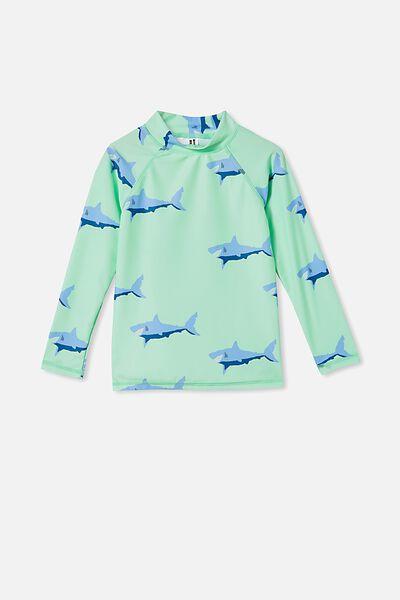 Flynn Long Sleeve Raglan Rash Vest, WASHED SPEARMINT/SHARK