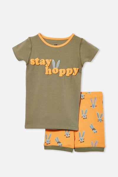 Ted Short Sleeve Pyjama Set, STAY HOPPY/ SILVER SAGE