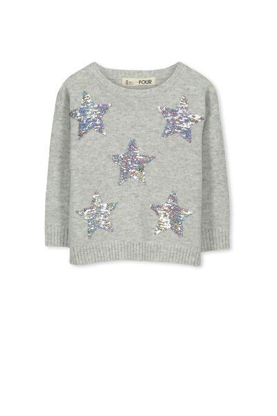 Nance Knit Jumper, SILVER MARLE/RAINBOW STARS