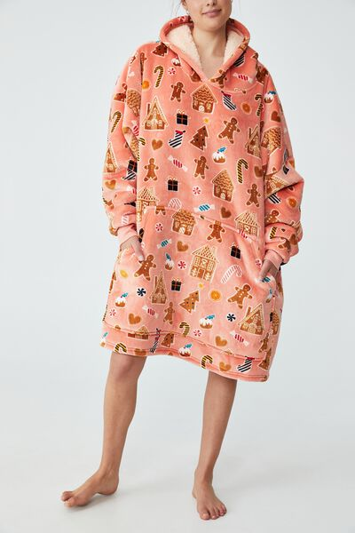 Snugget Adults Oversized Hoodie, GINGERBREAD XMAS/MUSK MELON